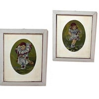 Vintage framed clowns cross stitch embroidery