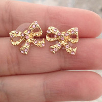 Pink & Gold Rhinestone Bow Earrings