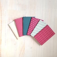 Notebooks: Tiny Journal Set of 6, Blue, Pink, Wedding, Favors, Stocking Stuffer, For Her, For Him, Gift, Unique, Mini Journals, Kids, T041
