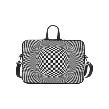 Personalized Laptop Shoulder Bag Optical Illusion Checkers Handbags 10 Inch