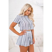 Shines With You Striped Two Piece Set (Grey)