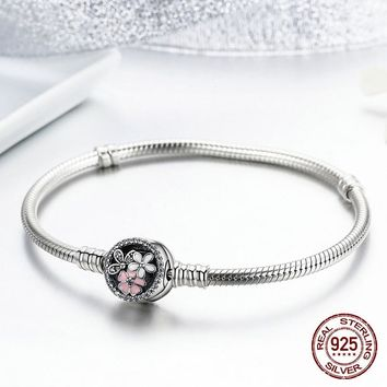 Authentic 925 Sterling Silver Poetic Daisy Cherry Blossom Mixed Enamels & Clear CZ Snake Chain Bracelet for women Jewelry