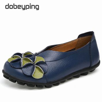 New Women Real Leather Shoes Flowers Mother Loafers Soft Leisure Flats Female Driving