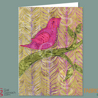 Quilted Card, Greeting Card, Printed on Cardstock, Personalized Greeting Card, Somber Sparrow Bird, Blank Inside 5 x7 w/ Envelope