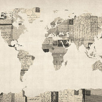 Map of the World Map from Old Postcards Digital Art by Michael Tompsett - Map of the World Map from Old Postcards Fine Art Prints and Posters for Sale