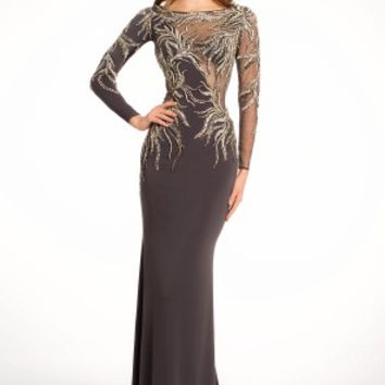 Jersey Illusion Metallic Embroidered Dress