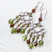 Handcrafted Brown and Green Chandelier Earrings With Fire Poished Glass Crystals