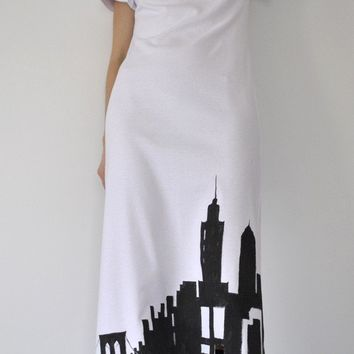 art maxi Dress Good morning NewYork City/ by marinaasta on Etsy