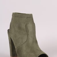 Delicious Suede Peep Toe Chunky Heeled Ankle Boots