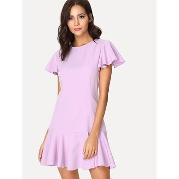 Flutter Sleeve Solid Ruffle Dress