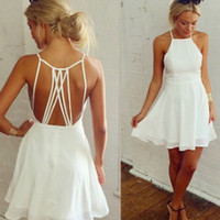 Women's Fashion Stylish Sexy Backless Hollow Out Chiffon One Piece Dress [4981692868]
