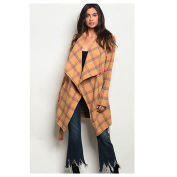 Adorable Camel Plaid Peacoat Jacket