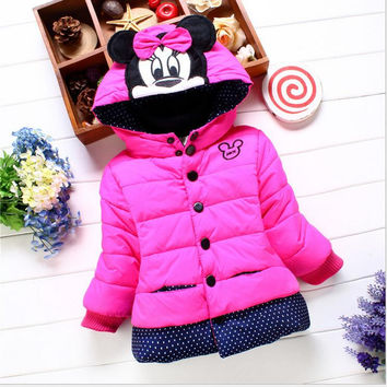 children outerwear winter snowsuit Christmas clothing coats jacket Minnie mouse warm thicken clothes kids down Parkas