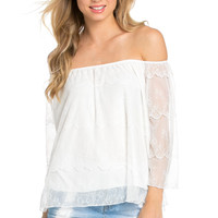 Casual Off Shoulder Ivory Lace Top