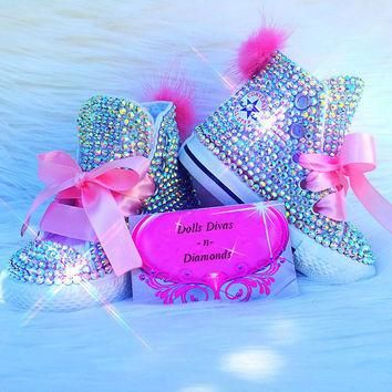 CUSTOM IRIDESCENT FULLY Covered Crystal Toddler Converse