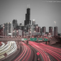 Chicago Photography- Skyline with highway view  Art Print, Photo, Wall Art