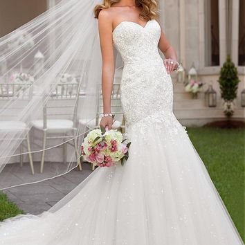 [219.99] Fabulous Tulle Sweetheart Neckline Natural Waistline Mermaid Wedding Dress - dressilyme.com