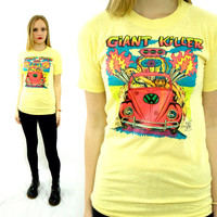 Vintage 80s GIANT KILLER Hot Rod Ed Roth-Inspired Rat's Hole VW 50/50 T Shirt Sz S