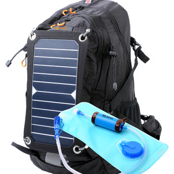 SolarSak water filtering solar hydration backpack w/ 7W SUN PIECE panel and SUN STRAW filter