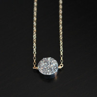 Silver Circle Crystal Necklace