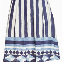 Seaside Stripes Printed Midi Skirt - Blue/White