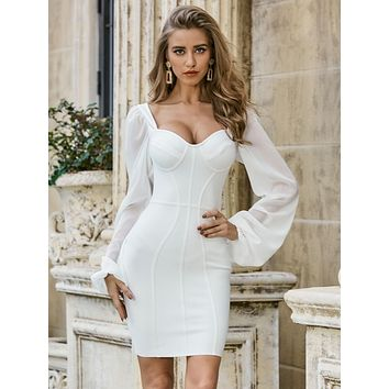 Sesidy Lantern Sleeve Bustier Bodycon Dress