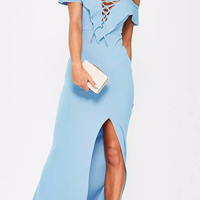 Blue Plunge Neckline Lace Up Ruffle Side Slit Maxi Dress