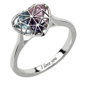 Heart Cage With Birthstones Engraved Mother's Ring - Available in Silver, Rose Gold or Gold