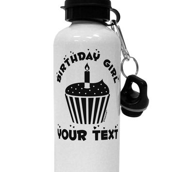 Personalized Birthday Girl Cupcake -Customizable- Name Aluminum 600ml Water Bottle