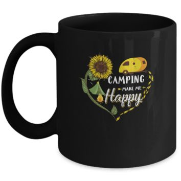 Camping Makes Me Happy Funny Sunflower Camping Lover Mug