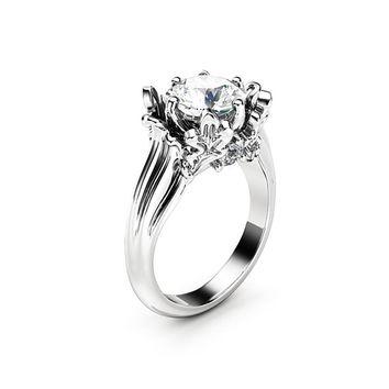Unique Leaves Moissanite Engagement Ring 14K White Gold Ring 2 Carat Moissanite Anniversary Ring