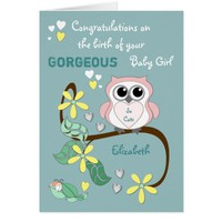 New Baby Girl Greetings Card Pink Owl