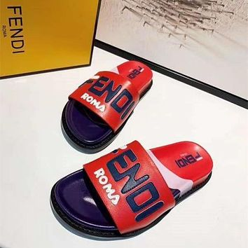 Fendi Fashion New Letter Print High Quality Leisure Slippers Shoes-1