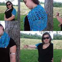 OOAK 3 in 1 Crochet Caplet, Button Cowl, Button Shrug, Turquoise Convertible Shrug, Blue Cape