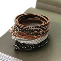 Fashion Unisex Womens Vogue Wrap Cuff Bangle Punk Multilayer Leather Rivet Stud Bracelet Gift = 1652575172