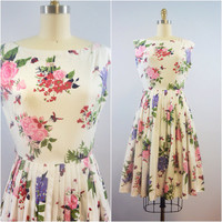 Vintage 1950s Bees and Blooms Day Dress