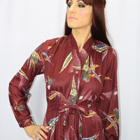 FANCY FEATHERS Delightful Vintage 1970's Plum Wine Dress With Feather Pattern