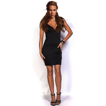 Feelingirl women clothing sexy summer black deep v neck party bandage club bodycon dress bodysuit mini dresses (Size: One Size, Color: Black) = 1697109188