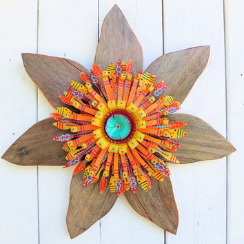 Rustic Southwest Wreath~ Reclaimed Barn Wood & Recycled Metal Wall Decor ~ with Handpainted Metal Flower Center ~Southwestern Decor