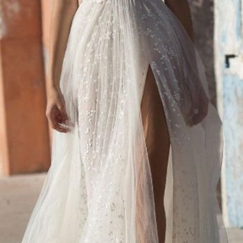 Sexy Illusion Travel Wedding Dress Beach Wedding Gown Beautiful Pearls Beading Straps Sweep Train Wedding Dresses