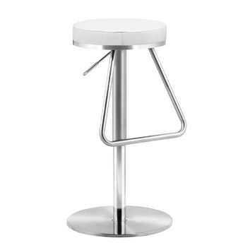 Soda Barstool White Brushed Stainless Steel