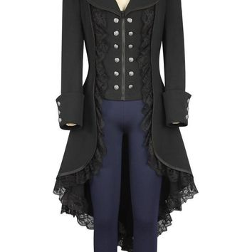 Steampunk Coat Women Adult Tuxedo Black Gothic Victorian Lady Coat Steampunk Cosplay Costume Halloween Clothing