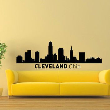 WALL DECAL VINYL STICKER CLEVELAND OHIO SKYLINE CITY SILHOUETTE DECOR SB61