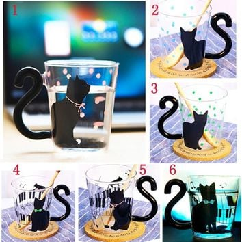 Cute Personality Cat Kitty Glass Mug Cup Tea Cup Milk Coffee Cup Party Home Office Cup