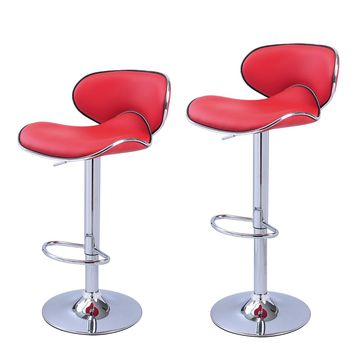 Bareneed Red Modern Bar Stools with Backs (Set of two)