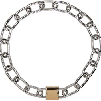 Silver & Gold Double Lock Necklace