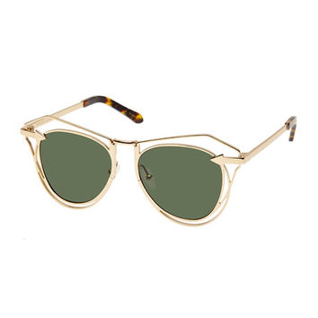 Karen Walker Marguerite Square Monochromatic Sunglasses, Yellow Gold/Crazy Tortoise