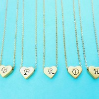 Set of 5, Gold/Silver, Necklace, Italic, Initial,  Heart, Necklace | simplecrystal - Jewelry on ArtFire