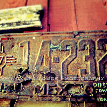 rusted license plate - New Mexico - aged worn metal - red barn wood - texture - ART photo - vintage desert - wall decor - folk art