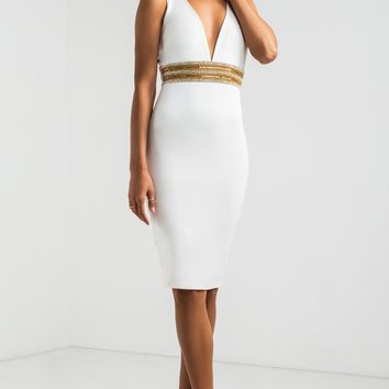 AKIRA Beaded Bodycon Evening Midi Dress in Black and White